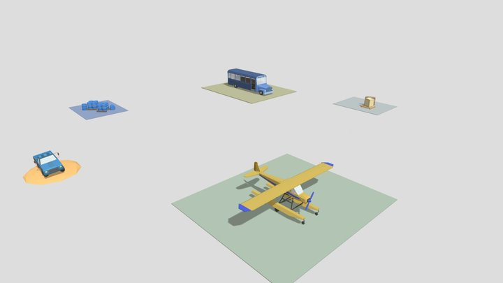 5 items from game Colored 3D Model
