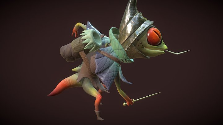 Lizard Attack Cycle Pass_02 3D Model