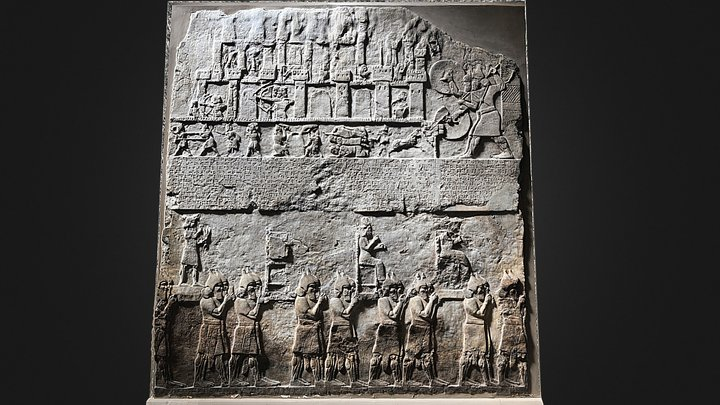 Wall-Paned from Nimrud Palace, Assyrian 728 BC 3D Model