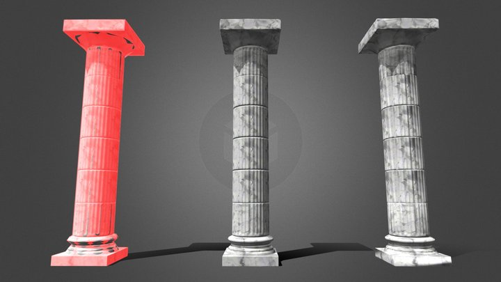 100% GameReady Column Free (Unity Pkg Included) 3D Model