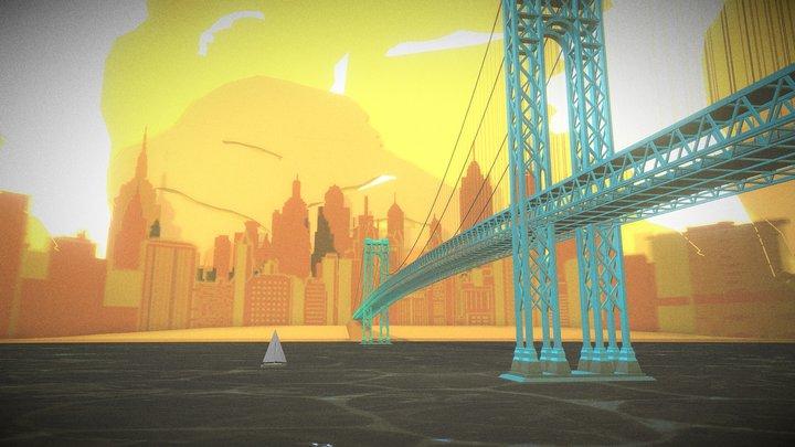Manhattan Bridge Illustration 3D Model