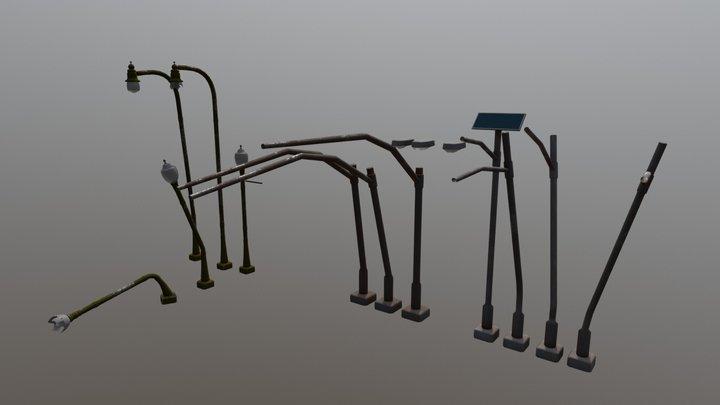 Street Lamps and Traffic Light Poles 3D Model