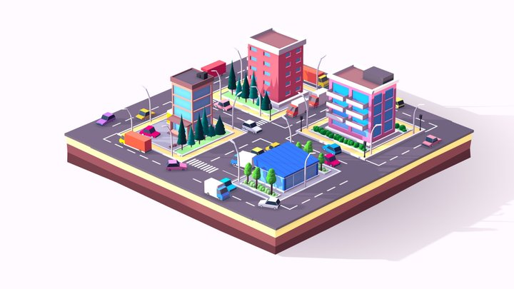 Cartoon Lowpoly Small City Free Pack 3D Model
