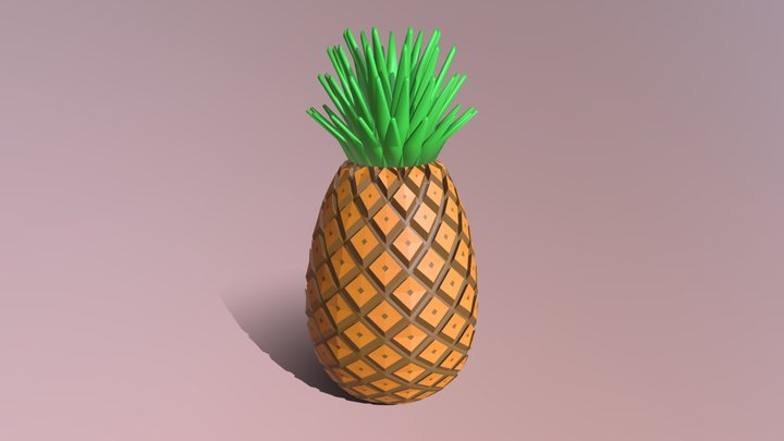 Low Poly Cartoon Pineapple 3D Model