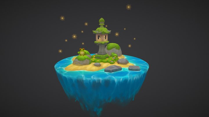Stylized Lantern Island 3D Model