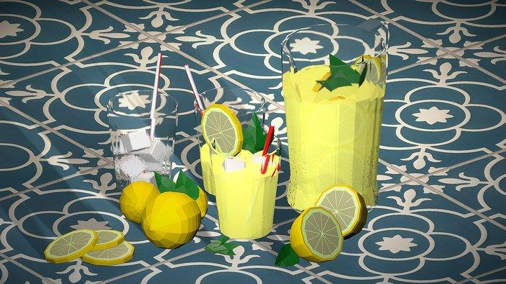 Lemonade Summer set low poly 3D Model