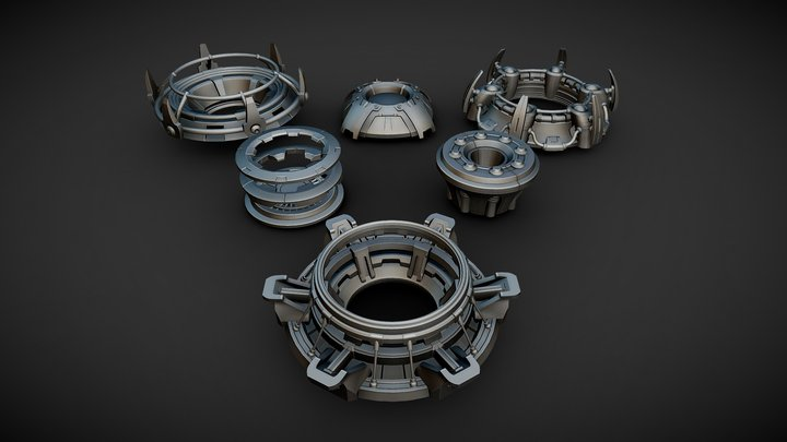 Hard surface ring structures for kitbashing 3D Model