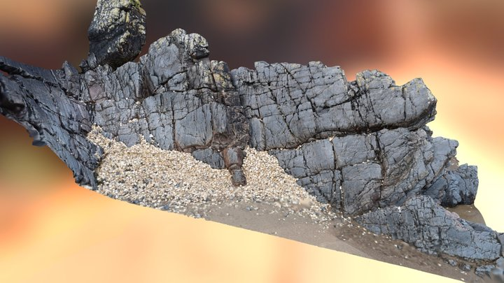 Rocky Outcrop at the Beach Scan 3D Model
