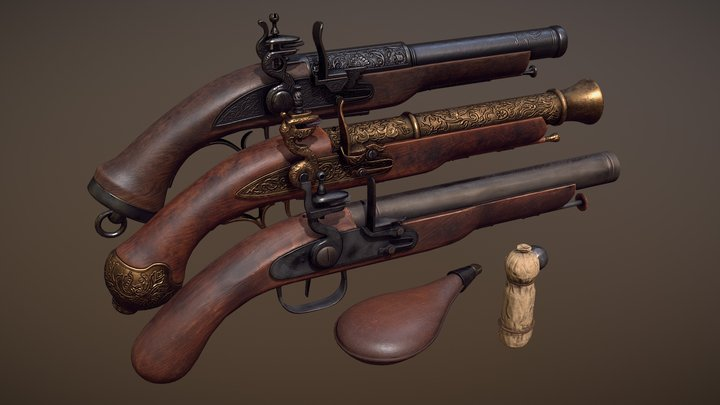 Flintlock Pistols 3D Model