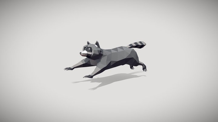 Low-poly Racoon Run Animation 3D Model