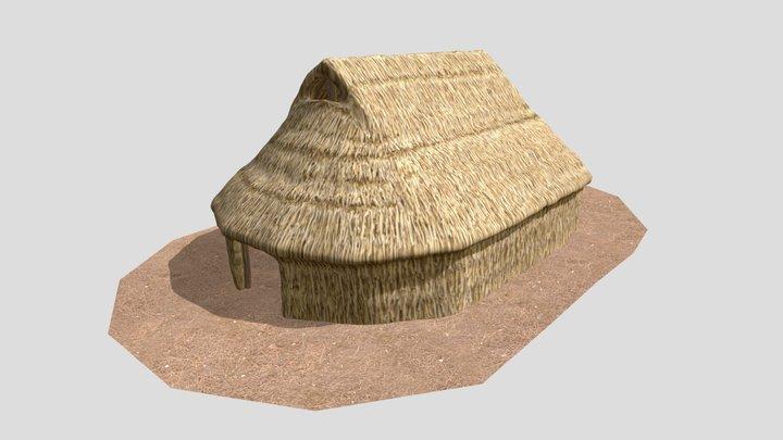 Ruka, ruca mapuche con estructura interior 3D Model
