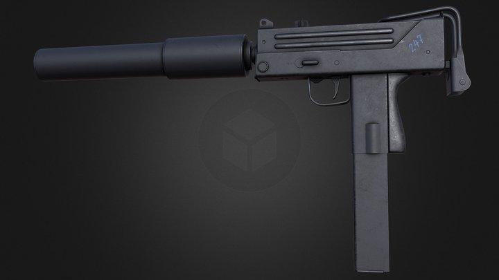 Ingram MAC-10 submachine gun low-poly PBR 3D Model