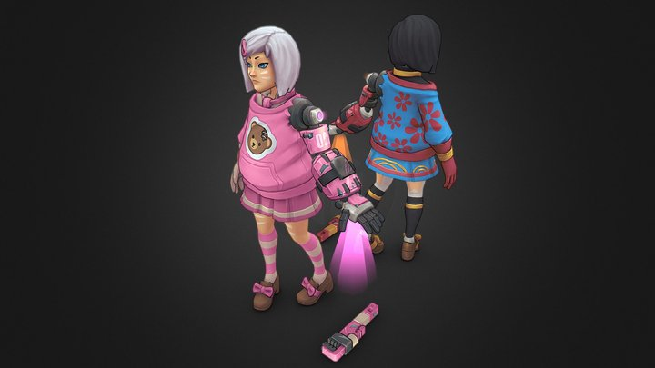 School girl Dot ver 2 - Rage Squad Character 3D Model