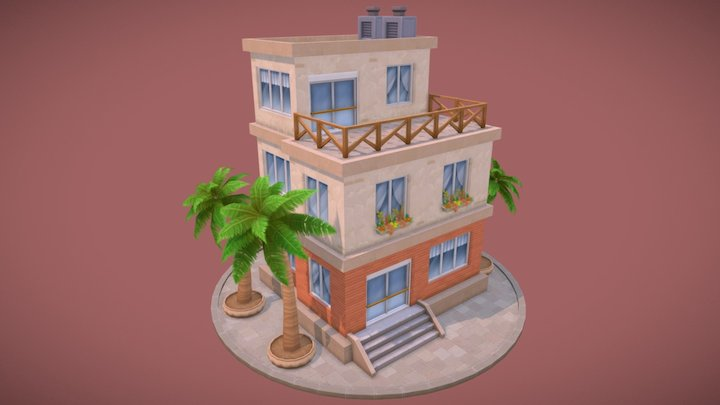 Lowpoly Holiday House 3D Model