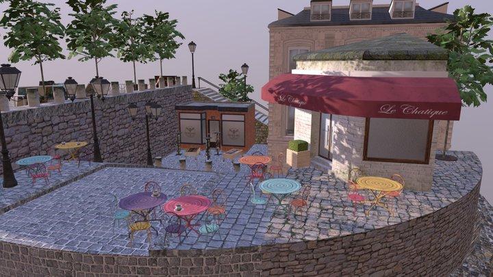 Montmartre City Scene 3D Model