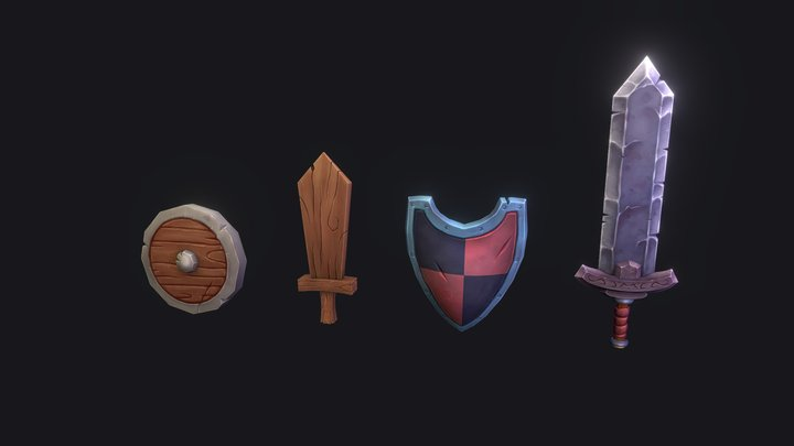 Simple RPG Weapons [Hand-Painted] 3D Model