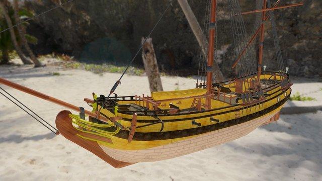 Pirate Ketch 3D Model