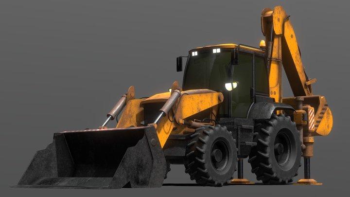 Tractor Excavator Model 01 (Orange version) 3D Model