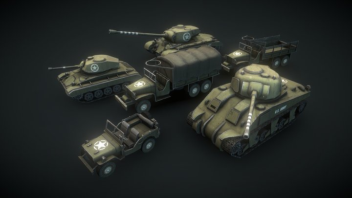 WW2 USA Low Poly Tanks #2 3D Model