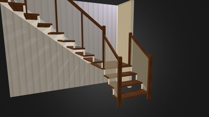 Stair Glass rail 3D Model