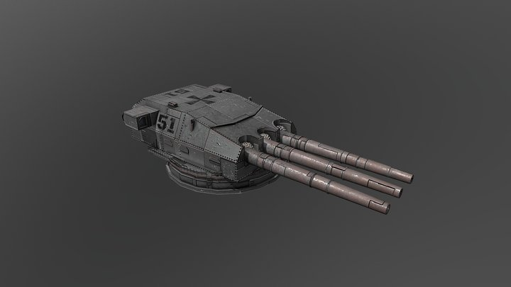 German Battleship Turret, Weathered and Aged 3D Model