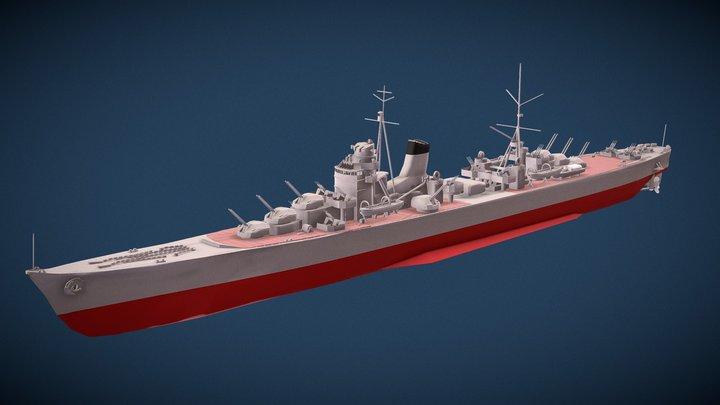 """巡洋艦〈綾瀬〉Imperial Japan Navy AntiAirCruiser""""Ayase"""" 3D Model"""