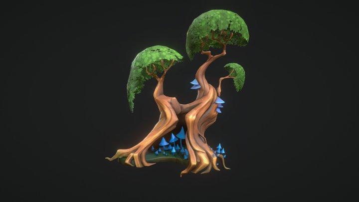 Cartoon Stylized Tree 3D Model