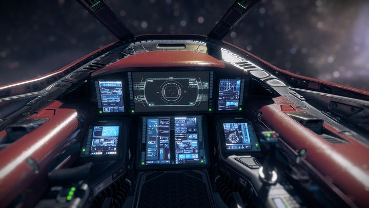Sci fi Cockpit 2 Light Fighter 3D Model