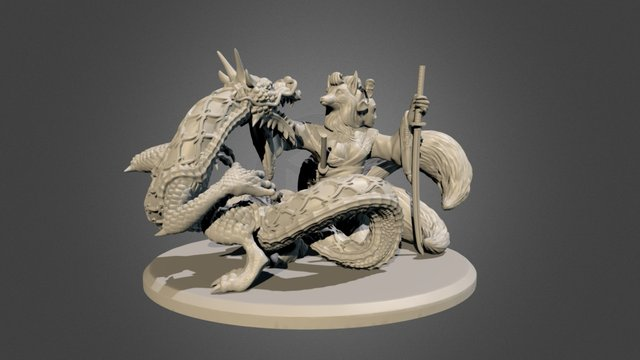 Geisha and dragon 3D Model