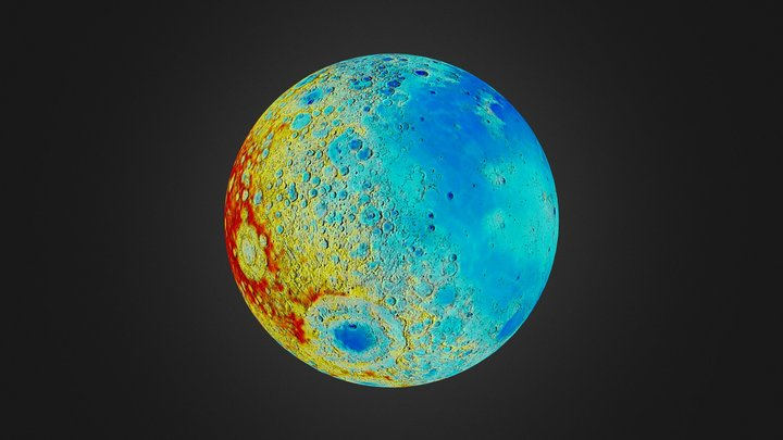 Lunar topography 3D Model