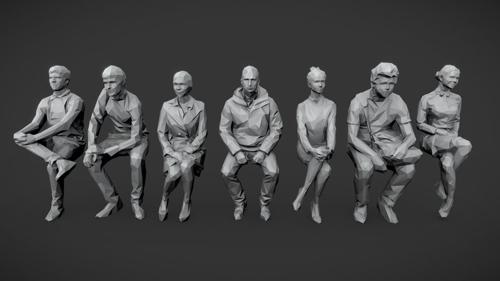 Lowpoly People Sitting Pack Vol. 2 3D Model