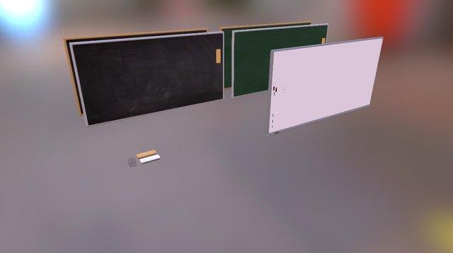 Black, White, Green Board 3D Model