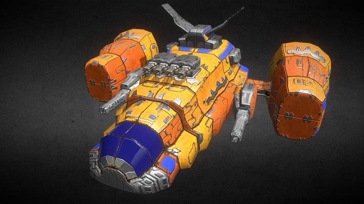 Heavy Space Fighter 3D Model