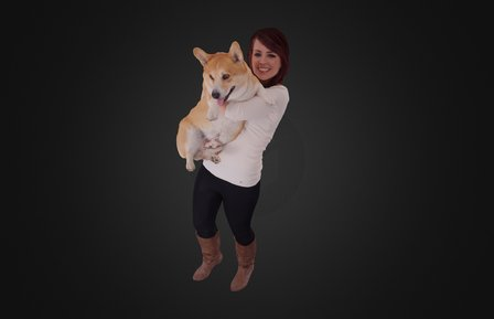 Lady and her pet dog 3D Model