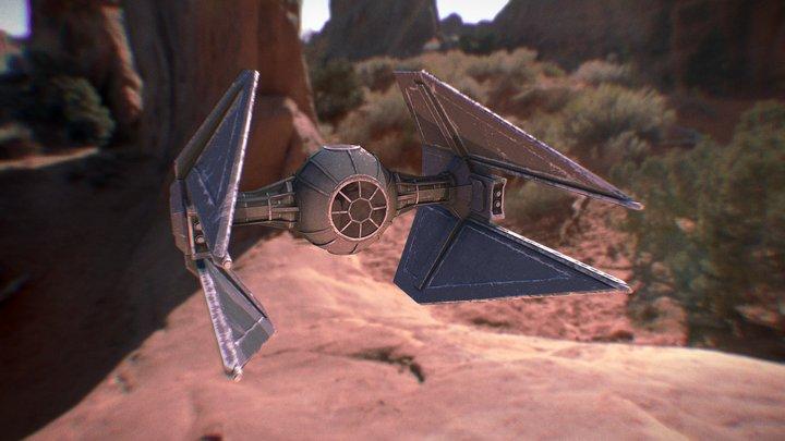 Tie Interceptor with Grungy Paint Job 3D Model
