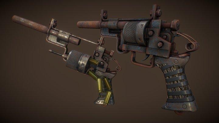 Post-Apocalyptic Revolver 3D Model