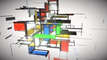 Mondriaan revisited- TiltBrush 3D Model