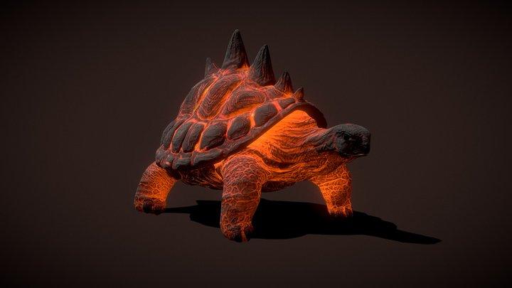 Lava Turtle Animated 3D Model