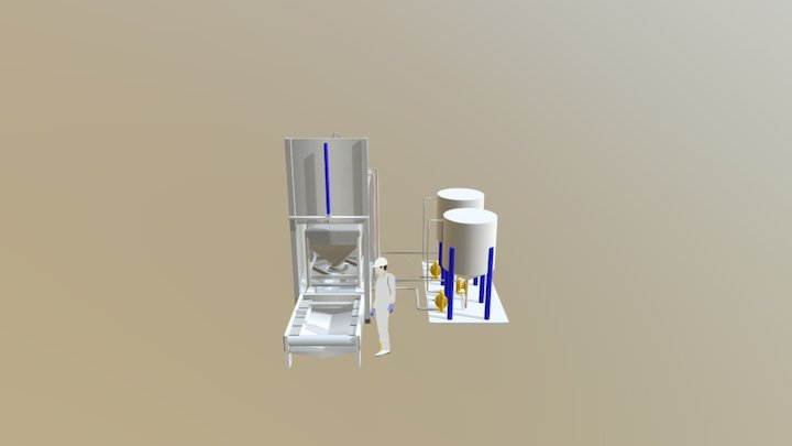 Rotajet Atex Stainless Steel IBC Washer Layout 3D Model