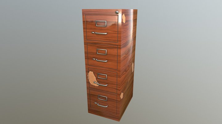 Filing Cabinet - Cheap Melamine Variant 3D Model