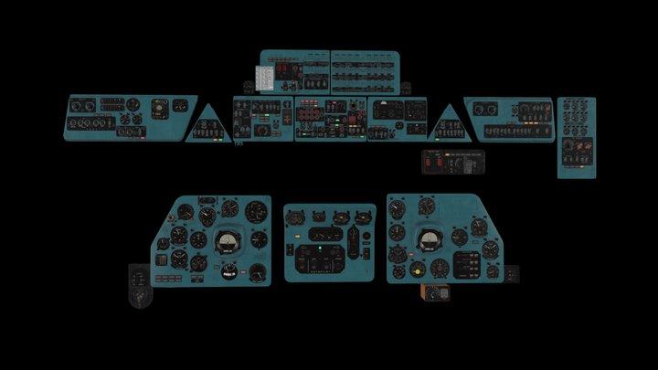 Flight simulator panels Mi-8MT Mi-17MT English 3D Model
