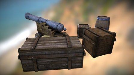 Canon, barrel and crates 3D Model