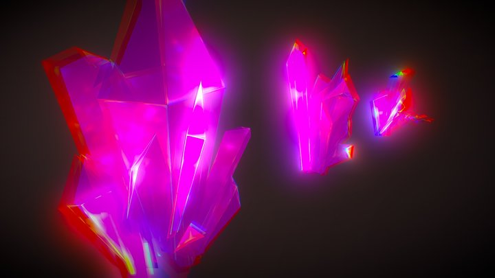 neon retro-futuristic Crystals | Low Poly 3D Model