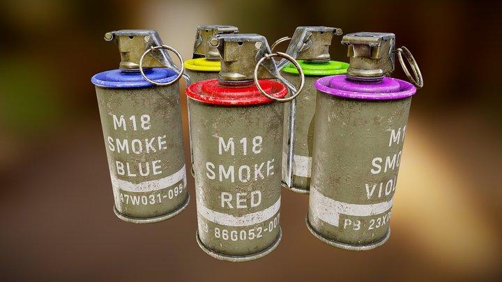 M18 Smoke Grenade Assortment 3D Model