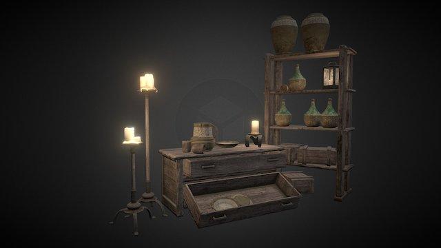 Medieval Environment Props 3D Model