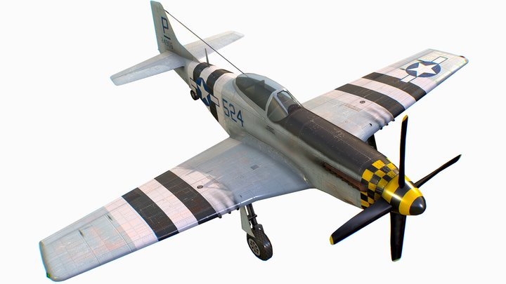 United States American fighter Mustang P-51D-5 3D Model