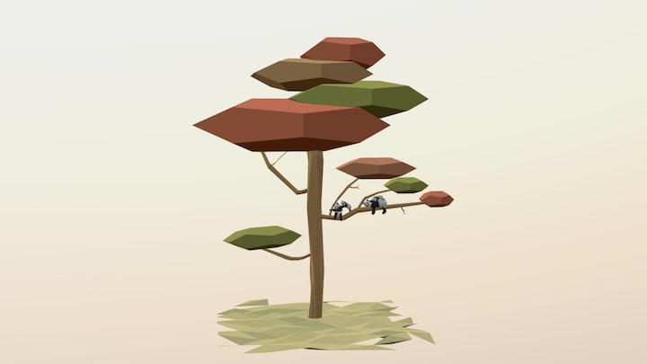 The Family Panda Tree 3D Model