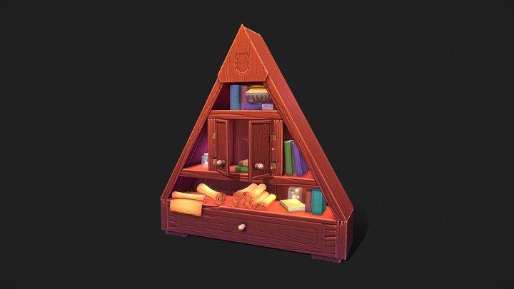 Stylized Fantasy Book Shelf 3D Model