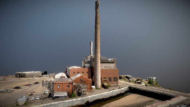 Old Place with smoke stacks 3D Model