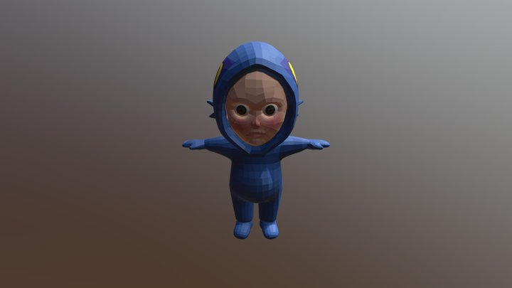 kid in murloc costume- Low Poly 3D Model